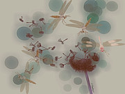 Dragonflies Art - Dandelions and Dragonflies by Jean Gugliuzza