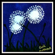 Gail Matthews Metal Prints - Dandelions at Night framed Metal Print by Gail Matthews