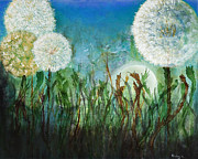 Dandelion Paintings - Dandelions by Heather Freeburg