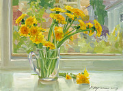 Flowers Painting Originals - Dandelions by Victoria Kharchenko