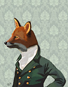 Portraits Digital Art Posters - Dandy Fox Portrait Poster by Kelly McLaughlan