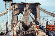 Urban Scenes Digital Art - Danger Keep Off - West Tower Brooklyn Bridge by Daniel Hagerman