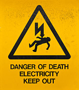 Danger Drawings Framed Prints - Danger Of Death - Electricity Framed Print by Shawn Hempel