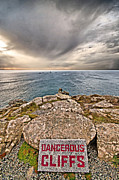 Cornwall Prints - Dangerous Cliffs Print by Chris Thaxter