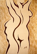 Man And Woman Posters - Dangerous Curves original coffee painting Poster by Georgeta  Blanaru