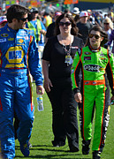 Danica Patrick Prints - Danica Patrick and Martin Truex Jr. Print by Mark Spearman