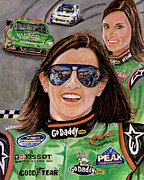 Letterman Painting Framed Prints - Danica Patrick Framed Print by Israel Torres