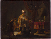 Rembrandt Paintings - Daniel and Cyrus before the Idol Bel - 1633 by Rembrandt van Rijn