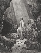 Lion Drawings Framed Prints - Daniel in the Den of Lions Framed Print by Gustave Dore