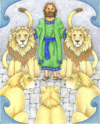 Bible Drawings Framed Prints - Daniel In The Lions Den Framed Print by Alison Stein