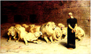 Briton Paintings - Daniel in the lions den by Joseph Hawkins