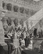 Banquet Drawings Framed Prints - Daniel Interpreting the Writing on the Wall Framed Print by Gustave Dore