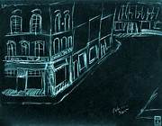 Interpretive Drawings Framed Prints - Daniel Rye and Company. City Street Building Sketch. Blue on Black. Framed Print by Cathy Peterson
