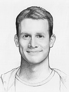 White Drawings - Daniel Tosh by Olga Shvartsur