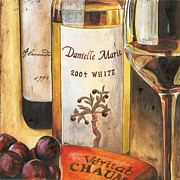 Red Wine Bottle Painting Posters - Danielle Marie 2004 Poster by Debbie DeWitt