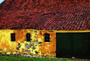 Tile Roof Framed Prints - Danish Barn impasto version Framed Print by Steve Harrington