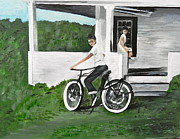Vintage Bike Painting Originals - Dannys New Bike by Susan Babine