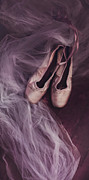 Purple Lace Shoes Posters - Danse Classique Poster by Priska Wettstein