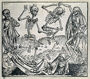 Ballet Dancers Prints - Danse Macabre Or Dance Of Death 1493 Print by Everett