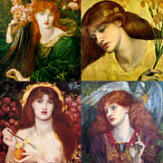 Gabriel Digital Art Posters - Dante Gabriel Rossetti Collage Poster by Philip Ralley