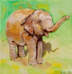 Little Elephant Framed Prints - Dante Green Framed Print by Kathleen Taylor