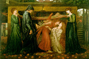 Dante Posters - Dantes Dream at the Time of the Death of Beatrice 1856 Poster by Dante Gabriel Rossetti