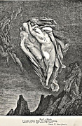 Angels Drawings - Dantes Vision of Hell Illustration Engraving Couple in Wind by