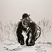Gorilla Drawings - Dapper by Beverley Harper Tinsley