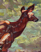 Wildlife Art Posters - Dappled Fawn Poster by Patricia A Griffin