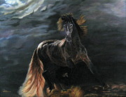 Light Horse Painting Originals - Dappled Horse in Stormy Light by LaVonne Hand