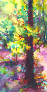 Dappled Light Painting Posters - Dappled - light through tree canopy Poster by Talya Johnson