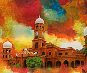 Red Buildings Framed Prints - Darbar Mahal Framed Print by Catf