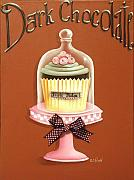Frosting Painting Prints - Dark Chocolate Cupcake Print by Catherine Holman