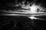 Manhatan Posters - Dark Evening Sunset View Over Lower Manhattan New York City Usa Poster by Joe Fox