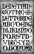 Calligraphy Digital Art Prints - DARK GOTHIC CALLIGRAPHY 15th Century Print by Daniel Hagerman