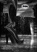 Rain Posters - Dark Knight Shinny Boots Of  Leather Poster by Bob Orsillo