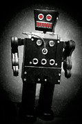 Robotics Framed Prints - Dark Metal Robot Oil Framed Print by Edward Fielding