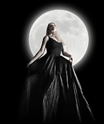 Angela Waye Prints - Dark Night Moon Girl with Black Dress Print by Angela Waye