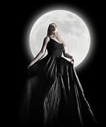 Dark Night Moon Girl With Black Dress Print by Angela Waye