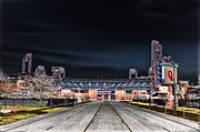 Citizens Bank Park Digital Art Posters - Dark Skies at Citizens Bank Park Poster by Bill Cannon