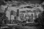 Chicago Skyline Black White Posters - Dark Sky Poster by Mike Burgquist