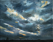 Netherlands Paintings - Dark Sky original oil painting Netherlands by Nancy Van den Boom
