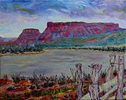 Stormy Weather Paintings - Dark Sky over the Rio Chama near Abiquiu by Ann Laase Bailey