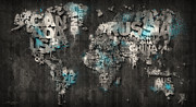 World Map Canvas Digital Art Metal Prints - Dark Storm Blue Metal Print by Mikael B Design