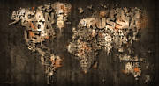 World Map Canvas Digital Art Metal Prints - Dark Storm Orange Metal Print by Mikael B Design