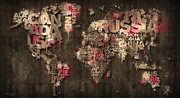 Designer World Map Prints - Dark Storm Red Print by Mikael B Design