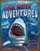Sharks Paintings - Dark Water Adventures by JQ Licensing