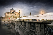 Night Angel Prints - Dark Winter Evening at Castel SantAngelo - Rome Print by Mark E Tisdale