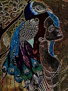 Amy Sorrell Metal Prints - Darkside Peacock Woman Metal Print by Amy Sorrell