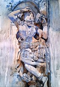 Carving Sculpture Metal Prints - Darpan Sundari means beautiful Lady with a mirror Metal Print by Rajesh Desai
